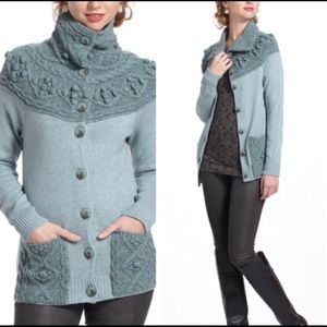 Anthropologie Sleeping on Snow Cablepoms Cardigan